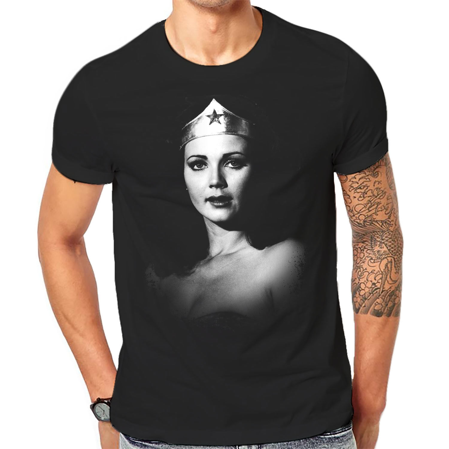 Wonder Lynda Carter T Shirt Men Classic Cult Movie TV Tees 3-A-125 MenS O-Neck Printed Tee Shirts