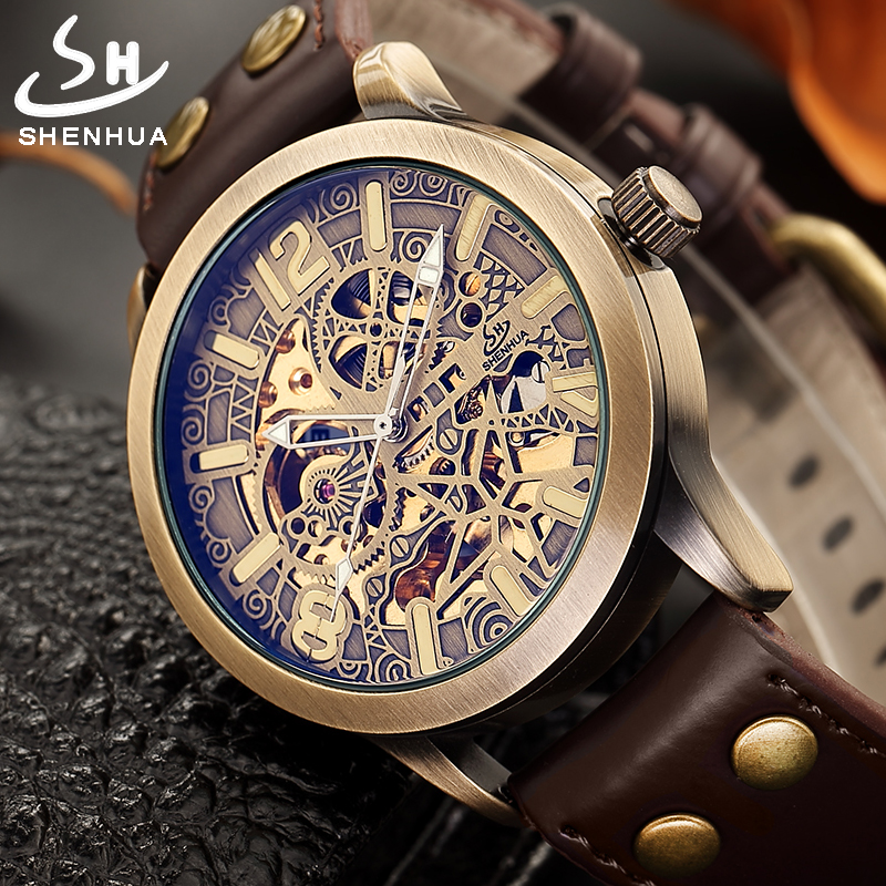 Top Automatic Watches Men Luxury Steampunk Mechanical Watch Vintage Bronze Skeleton Clock 2019 Brand Watch Drop Shipping HourTop Automatic Watches Men Luxury Steampunk Mechanical Watch Vintage Bronze Skeleton Clock 2019 Brand Watch Drop Shipping Hour