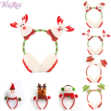 FENGRISE Christmas Santa Claus Snowman Xmas Headband Merry Decor 2019 Earmuffs Gifts Navidad New Year
