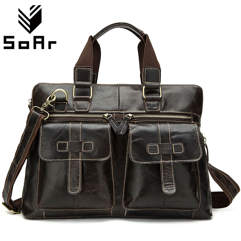 SoAr New Casual Messenger Bag For Men Bag Handbags Genuine Leather Cross Body Bags Vintage Business Briefcase Male Shoulder Bags new casual business leather mens messenger bag hot sell famous brand design leather men bag vintage fashion mens cross body bag