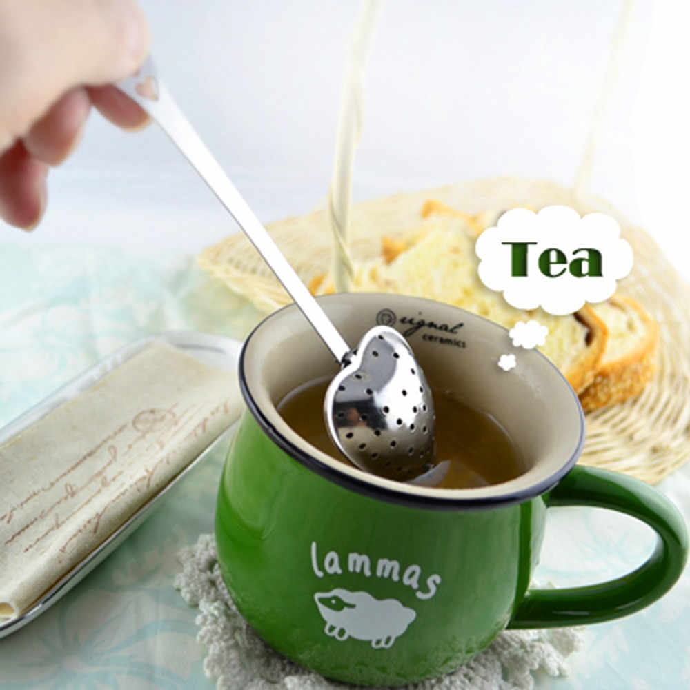 Stainless Steel Heart shape Tea sticks Ball Tea Infuser Leaf Spice Strainer Mesh Filter Cooking Tools Tea Kitchen Accessories Y