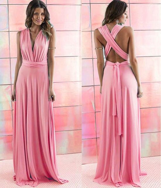 infinity dress lungo  2016 Donne Sexy di Estate Pesca Infinity Maxi Wrap dress Abito Lungo ...