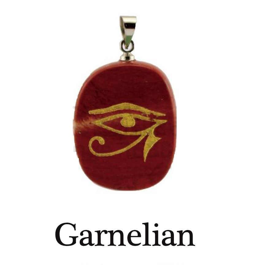 HOBBORN Rah Egypt Eye of Horus Energy Necklace Women Men Handmade Natural  Stone Healing Meditation Unisex Pendants & Necklaces