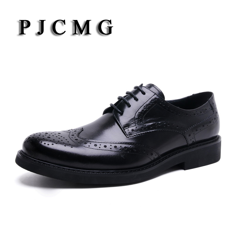 PJCMG High Quality Men Oxfords Style Carved Genuine Leather Brown/Black Brogue Lace-Up Bullock Business Men's Flats Shoes good quality men genuine leather shoes lace up men s oxfords flats wedding black brown formal shoes