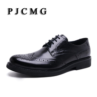 High Quality Men Oxfords British Style Carved Genuine Leather Brown Black Brogue Lace Up Bullock Business