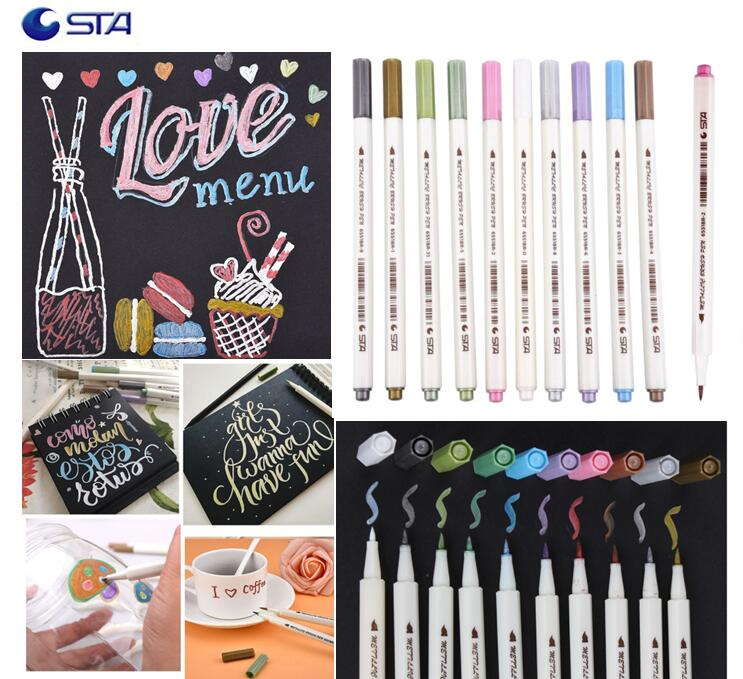 STA High Quality 10 Colors Metallic Brush Art Marker Pen Soft Hard Tip For Stationery School Supplies DIY Scrapbooking Crafts