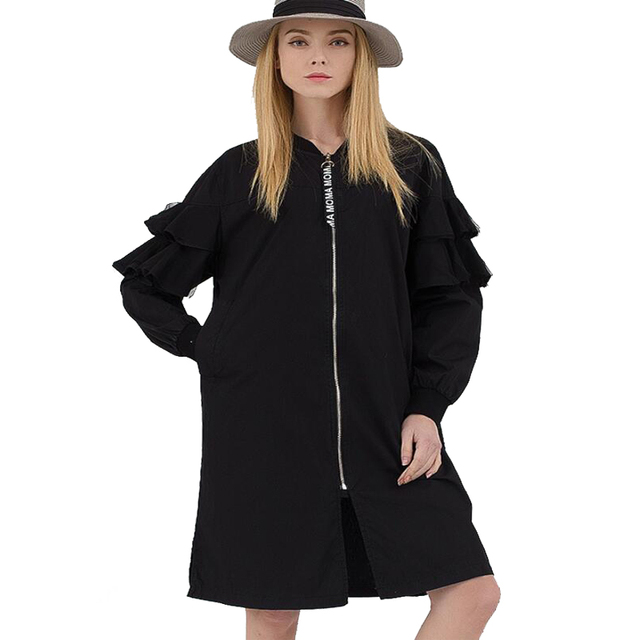European Trench Coat For Women 2017 Spring Fashion Zipper loose Ruffles Thin Casual Trenchcoat Female Overcoat Large Size