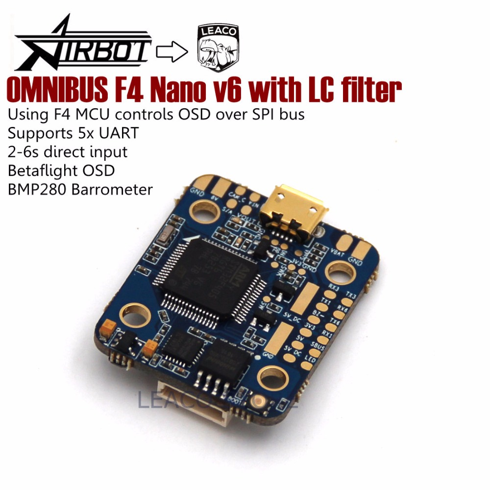 OMNIBUS F4 Nano v6 with LC filter flight controller uses the MPU6000 over SPI for the stable flight performance