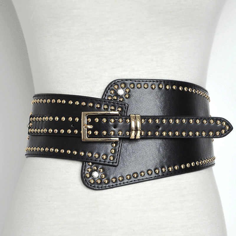 f3708c033b Bg-477 Cool women full studded black leather belts for dresses designer  handmade wide stretch