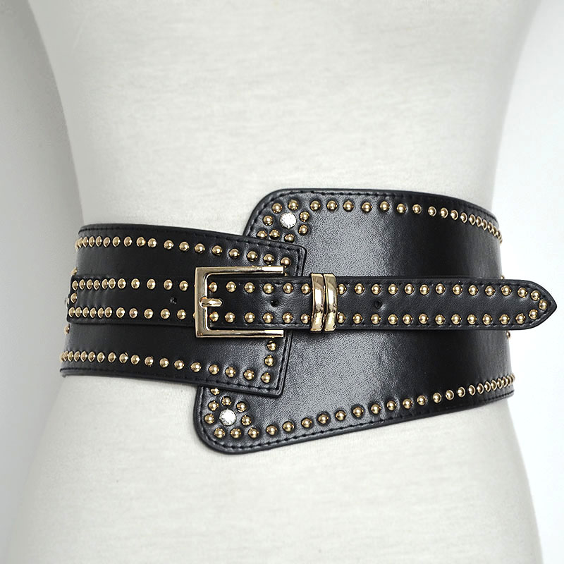 Bg-477 Cool Women Full Studded Black Leather Belts For Dresses Designer Handmade Wide Stretch Belt Lady Rhinestone Belt Online