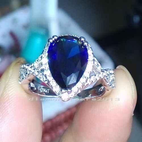 Choucong ювелирные украшения Виктория 10kt белое золото заполнены Груша вырезать AAA кубического циркония искусственные камни для женщин обручальное кольцо в форме сердца подарок