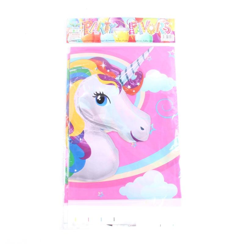 6pcs lot Unicorn Theme Cartoon Plastic Tablecloth Kids font b Baby b font Shower Happy Birthday