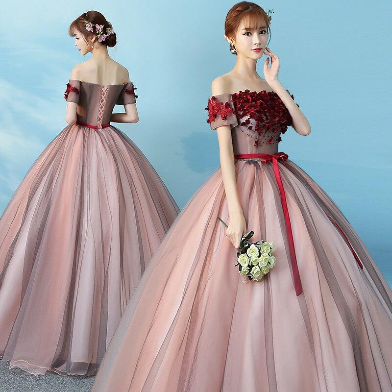 It\'s Yiiya Off Shoulder Bow Wedding Dresses Wine Red Ball Gown Floor ...