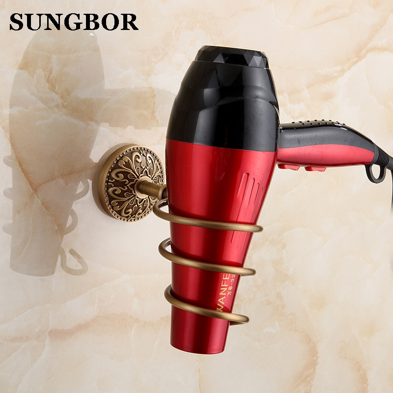 Art Antique Copper Hair Dryer Holder Bathroom Wall-mounted Hair Dryer Rack Storage Hairdryer Support Holder Spiral Stand ZL-8104 skinbox 4people silicone chrome border чехол для samsung galaxy a3 2017 dark silver