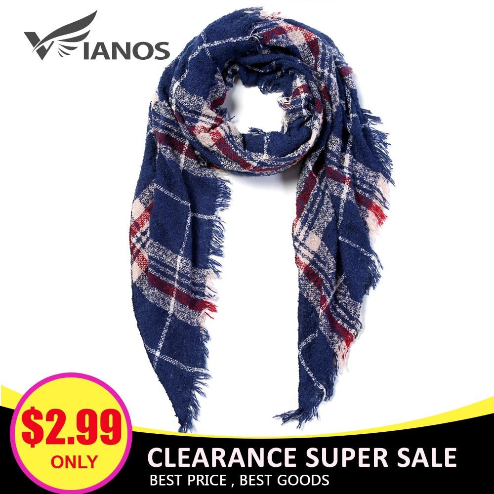 VIANOSI Knitted Spring Winter Women Scarf Plaid Warm Cashmere Scarves Shawls Luxury Brand Neck Bandana Pashmina Lady Wrap
