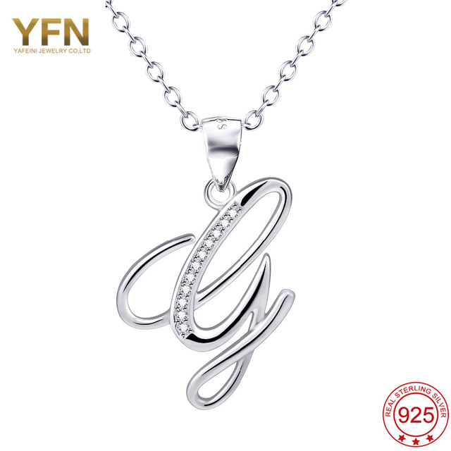 yfn 925 sterling silver jewelry a pendant necklace letter g charm silver a z initial letters name