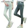 Cordón de Cintura Alta Muñeca Encantadora Polainas de Maternidad Otoño Primavera Ropa de Embarazo para Las Mujeres Embarazadas Pantalones de Maternidad De Algodón