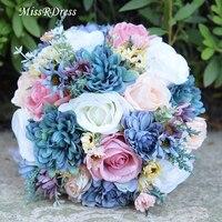 MissRDress Vintage Blue Wedding Bouquet Bridal Holding Flowers Atificial Silk Rose Bridal Bouquet For Wedding Accessories JK214