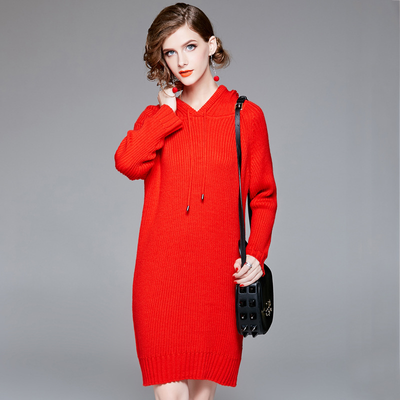 Sweater Dress Woman Autumn 2018 Hooded Pullovers Wool knitted Dresses Female High Quality Long Sleeve Casual Clothing Red