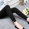 Frete Grátis Outono Inverno Engrosse Velvet Fleecews Leggings Para Mulheres Calças Quentes Imitar Jeans Denim Legging Plus Size XXXL 808