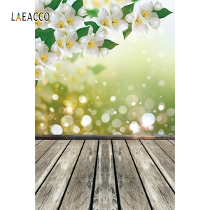 Image 5 - Laeacco Flowers Bokeh Wooden Floor Spring Backdrops Baby Newborn Portrait Photography Backgrounds Photophone Photocall Photozone
