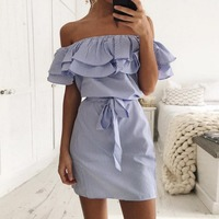 3 Colour 2017 Summer Fashion Women S New Striped Dresses Sexy Ruffle Dress Casual Style Comfortable