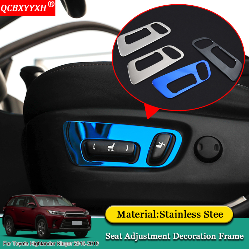 QCBXYYXH Car-styling Car Interior Seat Adjustment Decoration Frame Stickers Accessories For Toyota Highlander Kluger 2015-2018