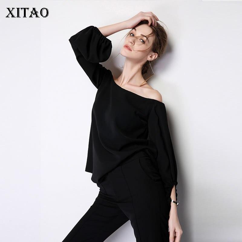 XITAO Sexy Off Sholder Top Chiffon Shirt Fashion Simple Women Clothes 2019 Elegant Blouse Match All Korean Autumn New ZLL4253
