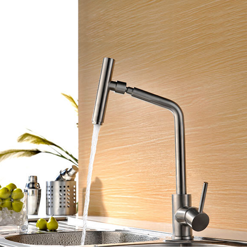360 Rotating Sink Faucet Kitchen Faucet Hot And Cold Household Brushed Surface Water Mixer Taps 304