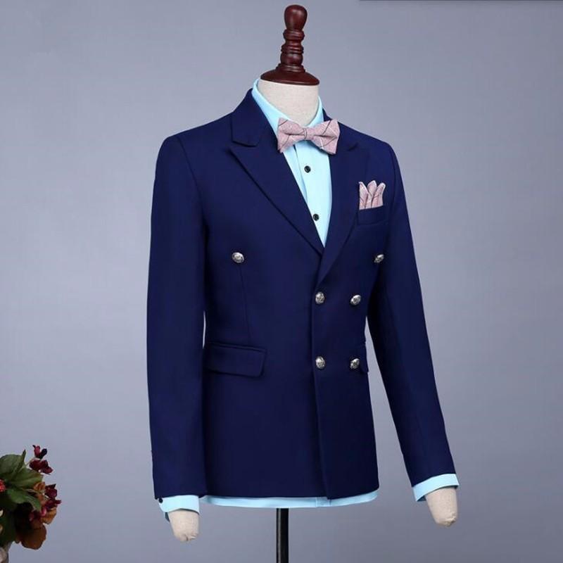 15.1Black and blue men suits jacket double breasted groom dress jacket tailor made wedding groomsman tuxedos jacket