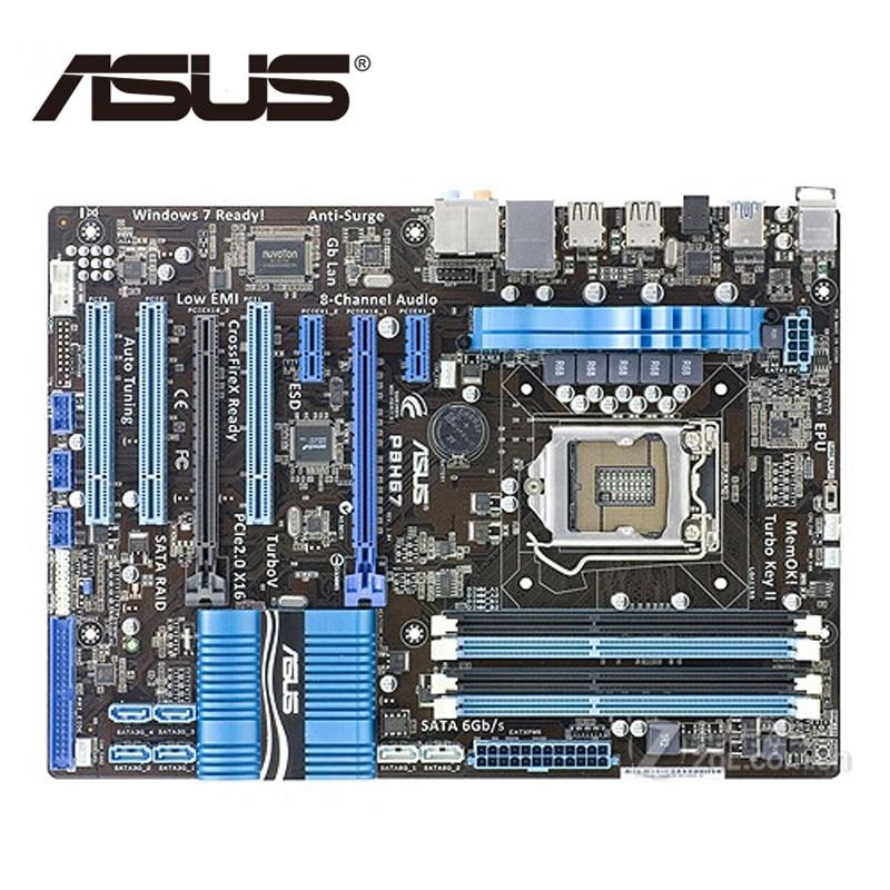 LGA 1155 Original ASUS P8H67 1333Mhz DDR3 P8 H67 Motherboard ATX USB3.0 32GB PCI-E X16 Desktop Computer PC Mainboard Plate Used