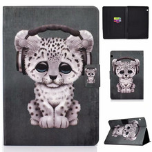 Cute Cartoo Leopard Case for Huawei MediaPad T5 10 Ultra Slim PU Leather Stand Cover Funda Voor MediaPad T5 AGS2-W09/L09/L03/W19 slim business retro flip stand cover case for huawei mediapad m5 lite 10 case bah2 w09 bah2 l09 bah2 w19 10 1 tablet shell