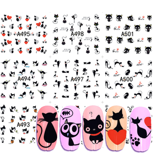 12 Designs Black Cat Nail Art Water Stickers Lovly Animals Decorations Love Heart Nail Decals Slider Polish Manicure JIA493-504