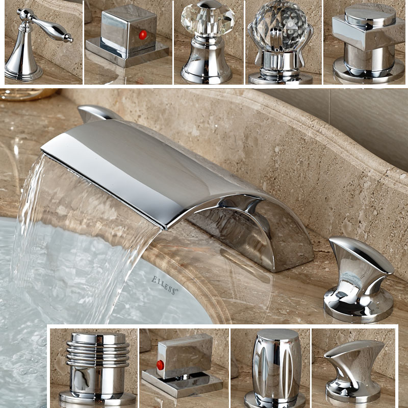 где купить Modern Deck Mounted Dual Knobs Waterfall Brass Basin Faucet Bathroom Widespread Chrome Washing Basin Mixers дешево