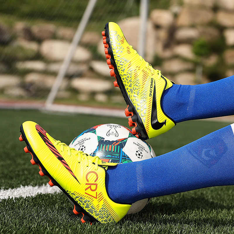 5ea0dff94672 ... Nail Kids Shoes Soccer Children Football Genuine Messi C Luo Soccer  High Top Younger Boys Girls ...