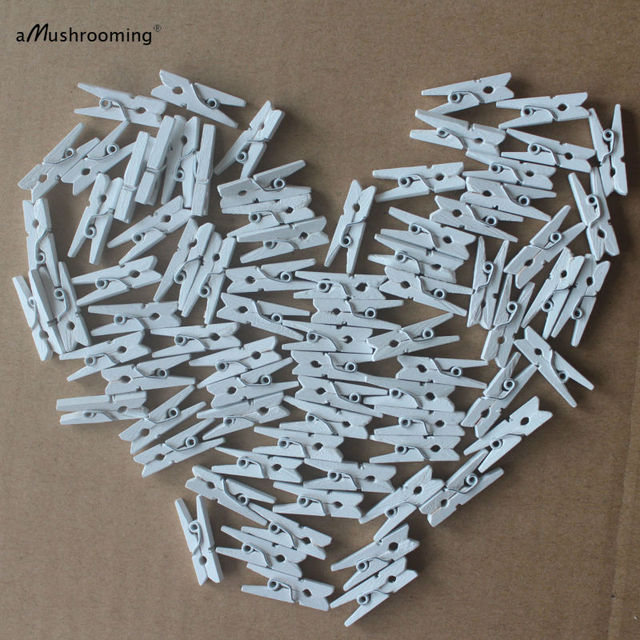 x25 Rustic Wedding Decoration White Mini Wooden Clothespins Small Natural Wood Craft Pegs Miniature Photo Wall Decoration Clips