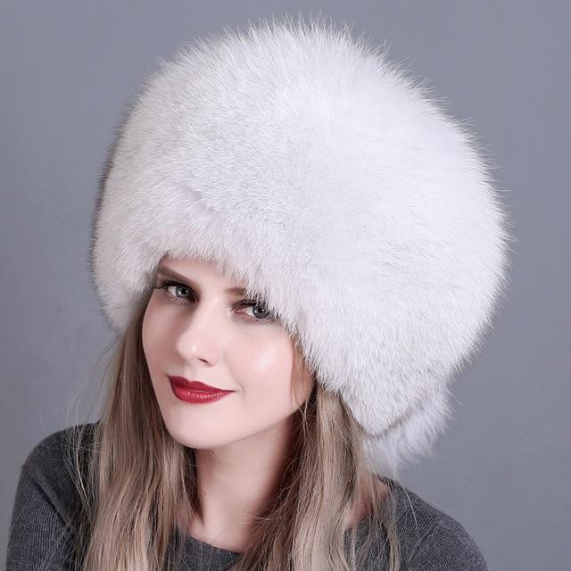 Winter Women Fur Cap Real genuine natural Fox Fur Hats Headgear Russian Outdoor Girls Beanies Cap ladies warm fashion cap