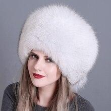 Zimowe damskie futrzane czapki prawdziwe oryginalne lis naturalny futrzane czapki nakrycia głowy rosyjskie odkryte dziewczyny czapki czapka damska ciepła moda czapka