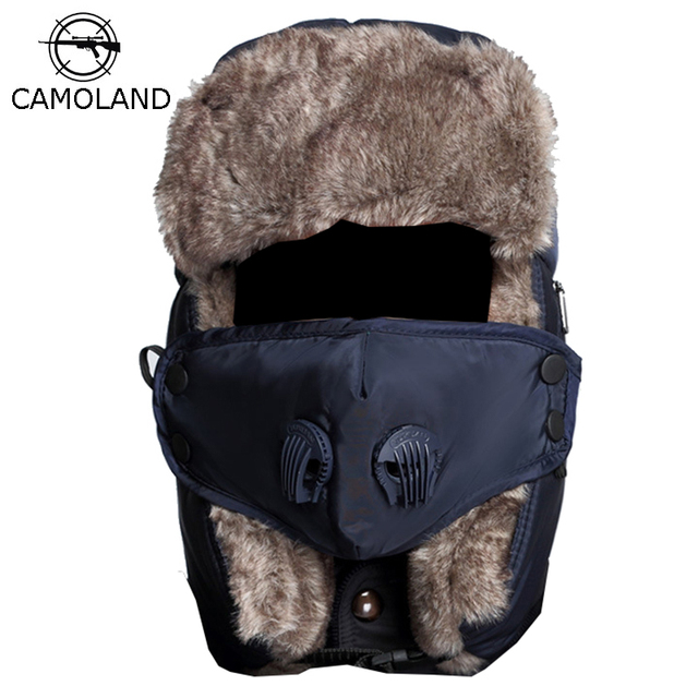 Winter Warm Earflap Bomber Hat Caps for Men Women Russian Thermal Trapper Hat Trooper Snowboard Skiing with Fack Cover Windproof
