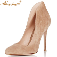 Mature Navy Blue&Dark Khaki&Khaki Suede Round Toe Women Prom  Pumps 10cm High Heels Shoes Woman Party Large Size 4 to 16