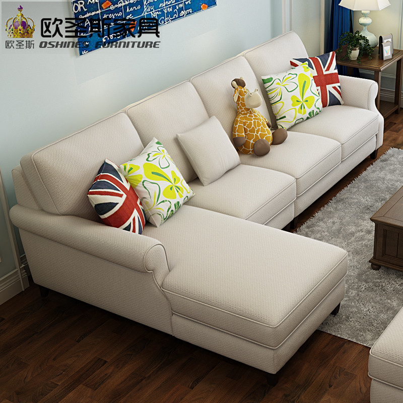 New arrival American style simple latest design sectional l shaped corner living room furniture fabric sofa set prices list F75F furniture russia sectional fabric sofa living room l shaped fabric corner modern fabric corner sofa shipping to your port
