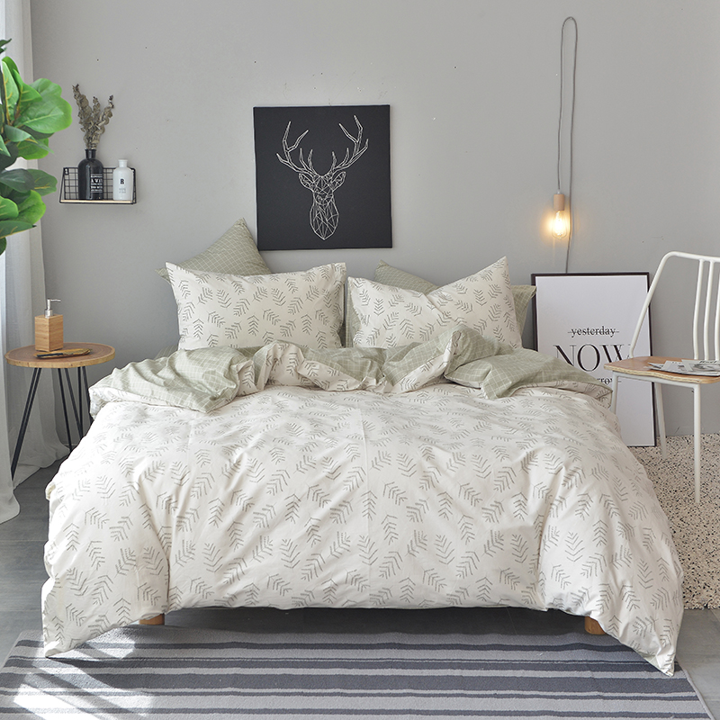 2018 New Simple Leaves Bedding Set 3/4Pcs Twin Queen King Size Cotton Duvet Cover Flat Sheet Pillow Cases2018 New Simple Leaves Bedding Set 3/4Pcs Twin Queen King Size Cotton Duvet Cover Flat Sheet Pillow Cases