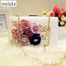 2017 нов стил ръчно изработени 3d цветя сватбени чанти марка кожен съединител портфейли мини парти торбички за момичета 2 цвята MN258