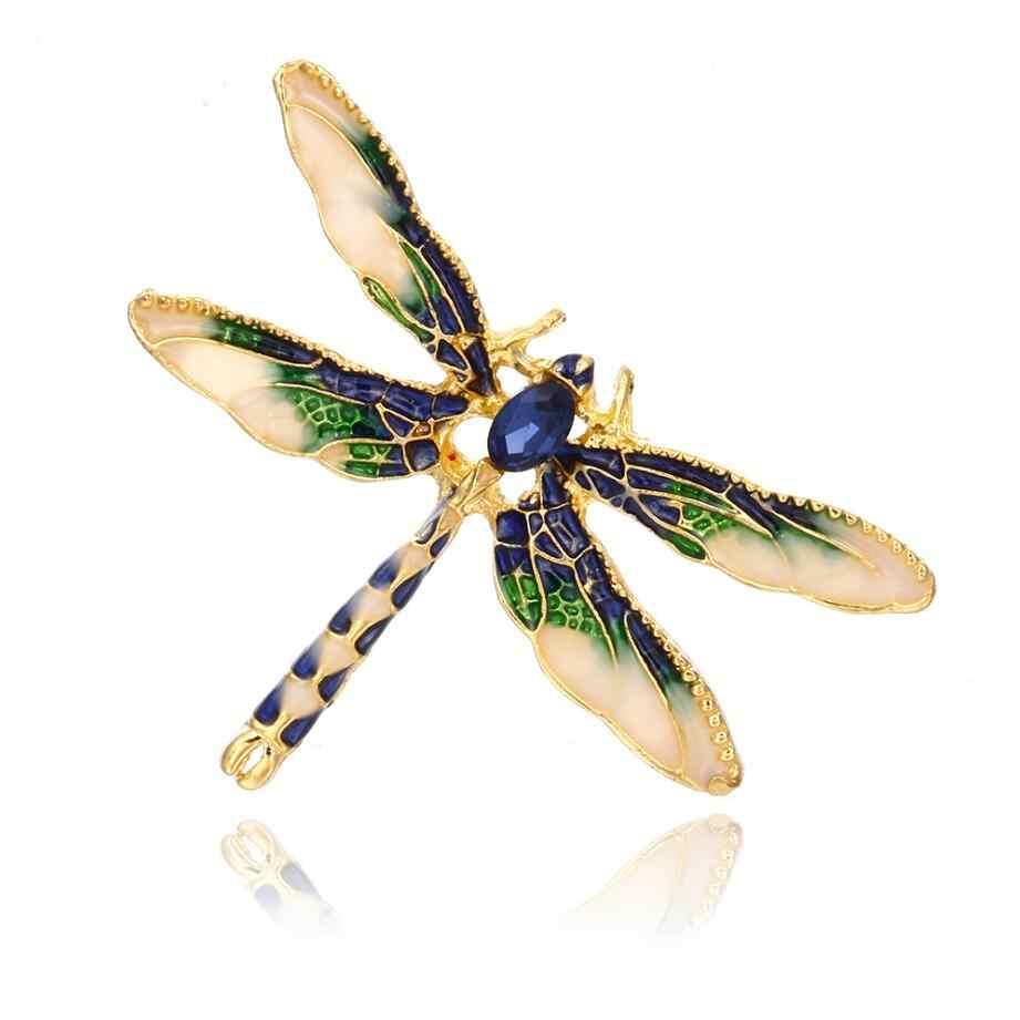 Panas Baru Dragonfly Bros untuk Wanita Hijau Email Serangga Crystal Dragonfly Bros Pria Jas Gaun Pin dan Bros