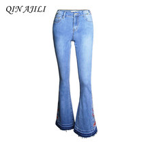 QIN AJILI Boot Cut Womens Embroidery Jeans Cotton Regular England Style Full Length Zipper Mid Waists Denim Fashion Trousers