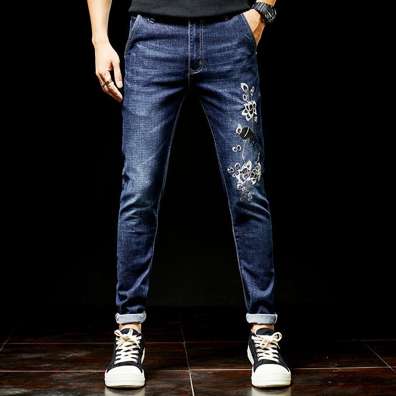 Fit Denim Mode Slim Strech Hommes Jeans Fleur Maigre Pantalon Casual Droite Conception Long Show Biker As nxw8qHaFw