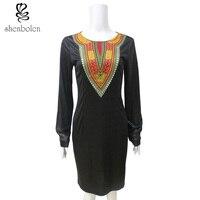 2017 jesień dashiki Afrykańskie stroje dla kobiet czarny Dziania szwy Batik wosk wydruku ankara ubrania z długim rękawem sukienka
