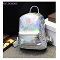 Chegada nova Holograma Laser Backpack School Girl Bag Mulheres Rainbow Colorido Prata Metálico Laser Holográfico Mochila, MF1619