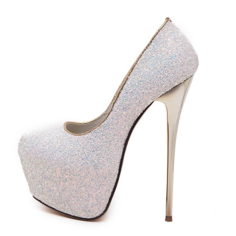 Noir Parti Sexy blanc Pour De 16 Chaussures bleu Talons Cm rose Pompes Noir Rose Femmes Blanc Plate forme Extreme Paillette Bleu TpB4T