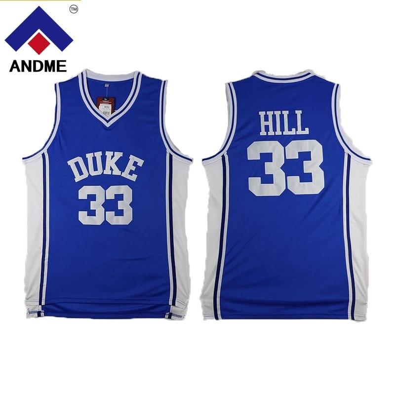 #33 Grant Hill Jersey Duke Stitched Basketball Shirt Blue White